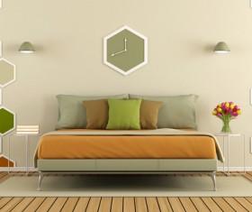 Modern minimalist bedroom Stock Photo