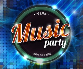 Music party flyer template modern design vector 02