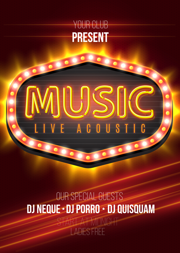 Music party flyer with neon sign vector 01