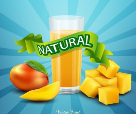 Natural mango drink poster vector design