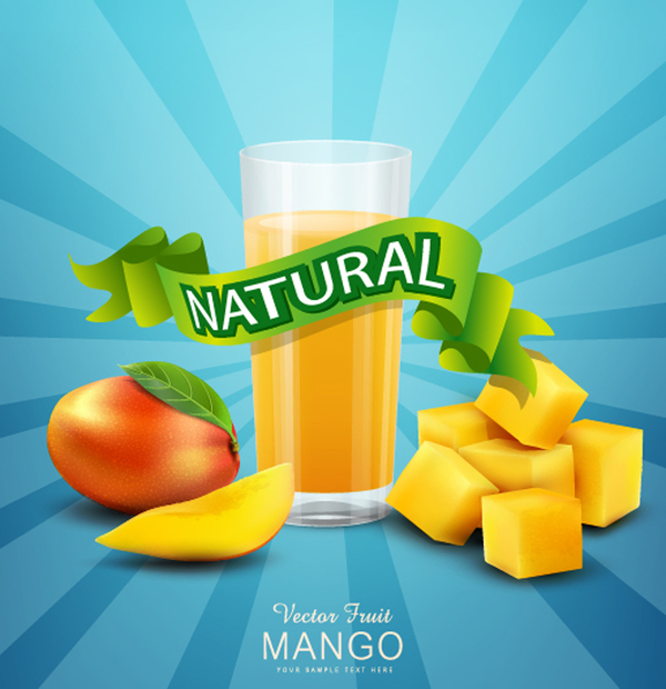 Natural mango drink poster vector design