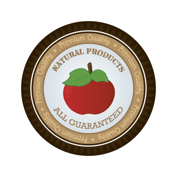 Natural products apple badge vector