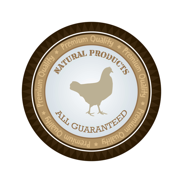Natural products chicken badge vector