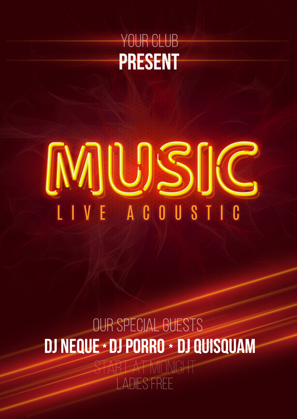 Neon music party flyer template vector 02