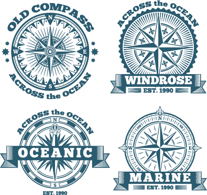 Old compass labels vector set