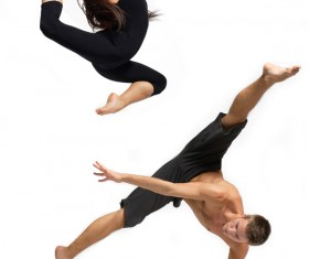 One hand stays with leaping dancers Stock Photo