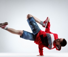 One-handed street dancing man Stock Photo