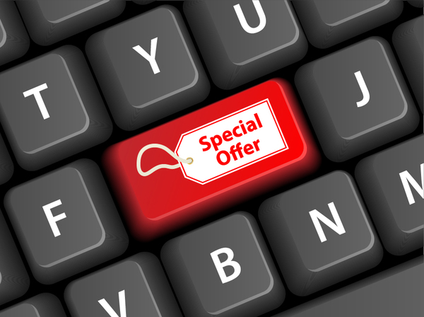 Online shopping with keyboard background vectors 07