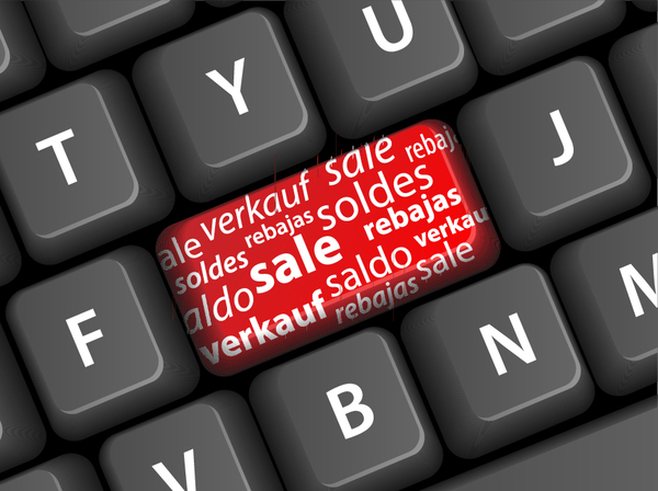 Online shopping with keyboard background vectors 12