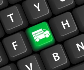 Online shopping with keyboard background vectors 15