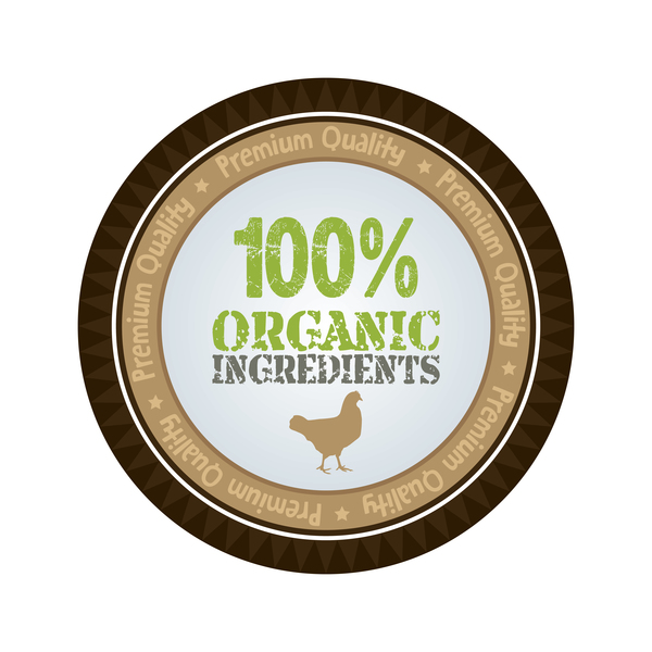 Organic ingredients farm badge vector