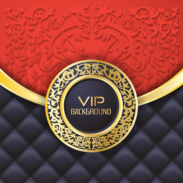 Ornate VIP background red black vector 01