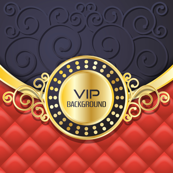 Ornate VIP background red black vector 02