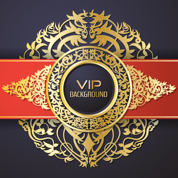 Ornate VIP background red black vector 03