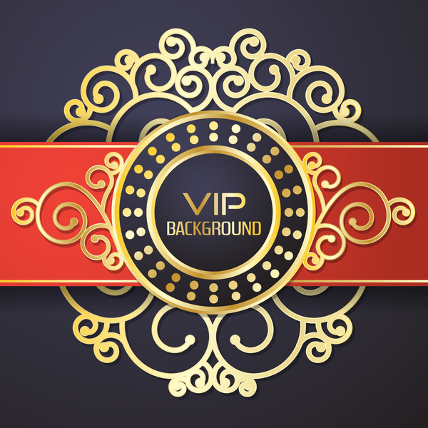 Ornate VIP background red black vector 04