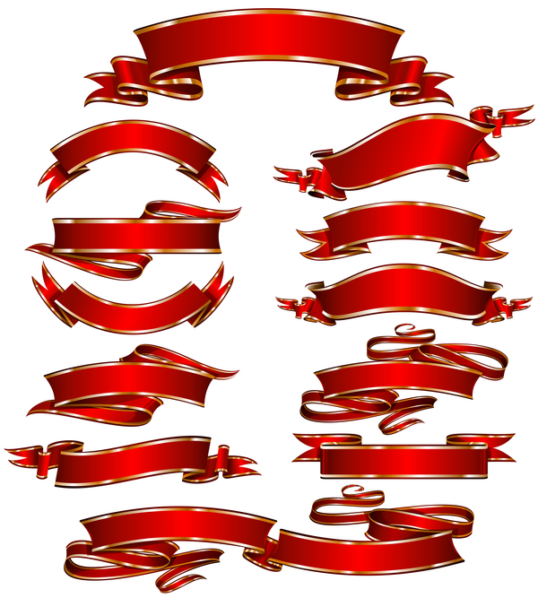 Ornate red ribbon banners vectors 01