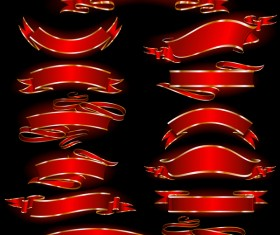 Ornate red ribbon banners vectors 02
