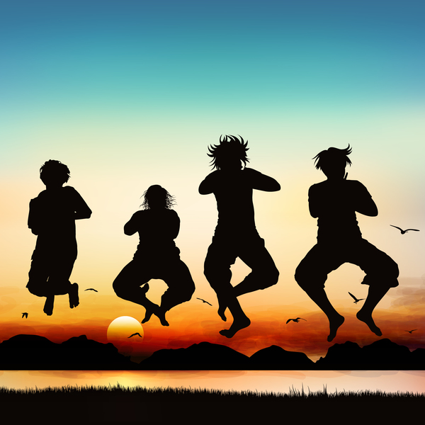 People jumping silhouette with sunrise background vector 05