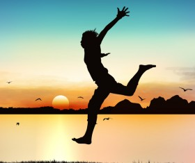 People jumping silhouette with sunrise background vector 06