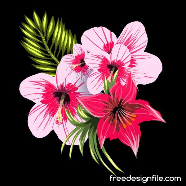 Pink with red tropical flowers and black background vector