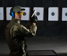 Pistol shooting Stock Photo