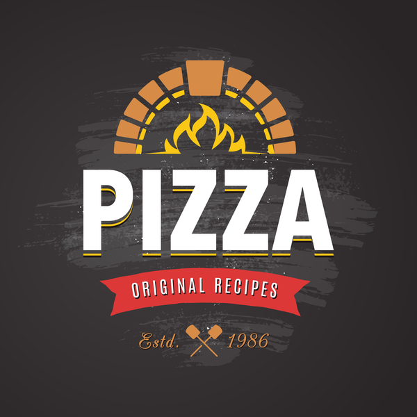 Pizza Logo vintage styles vector 02