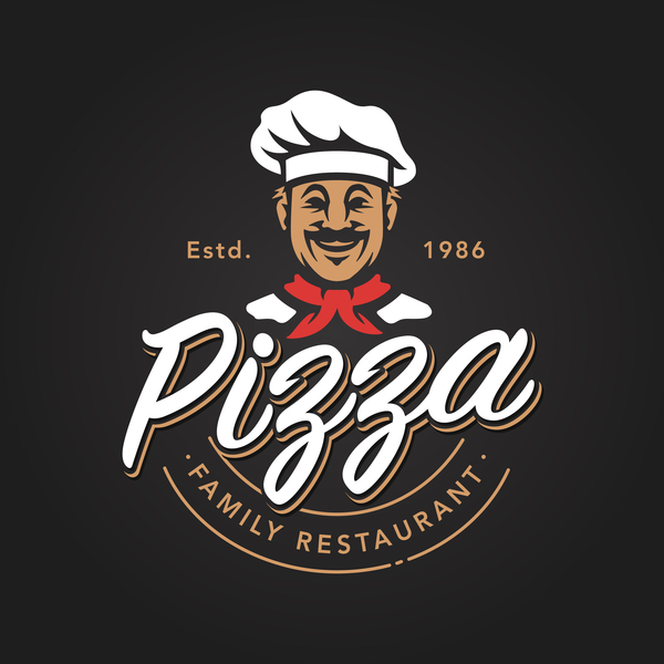 Pizza Logo vintage styles vector 03
