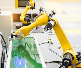 Production Line Industrial Robots Stock Photo 01
