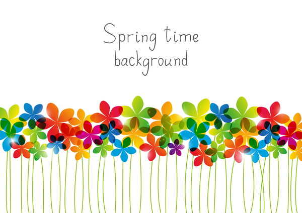 Rainbow floral border for Your design - free download
