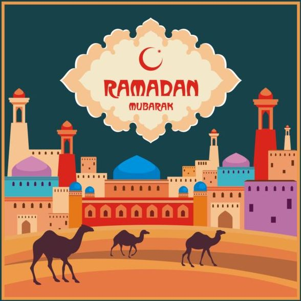 Ramadan mubarak background design vector 02