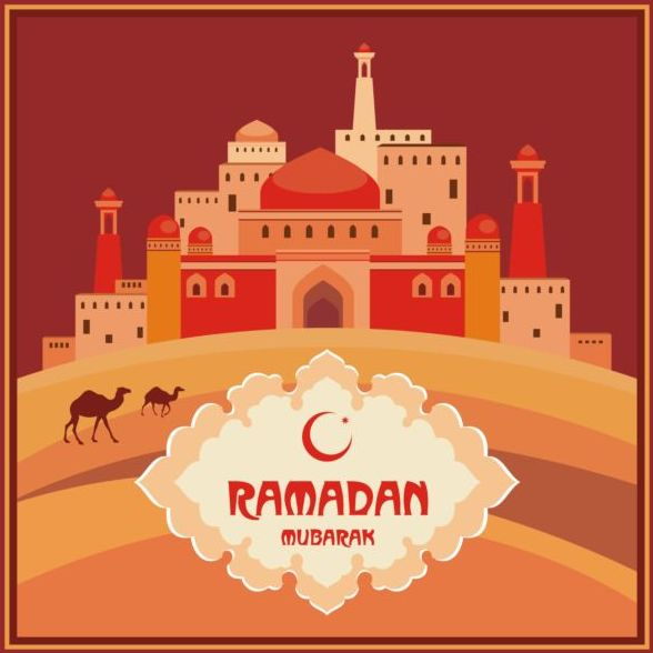 Ramadan mubarak background design vector 03