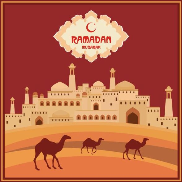 Ramadan mubarak background design vector 04