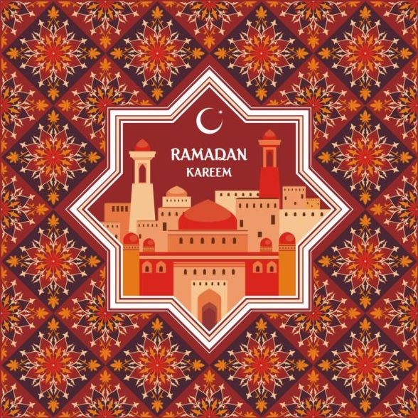 Ramadan pattern with greeting card vector 01