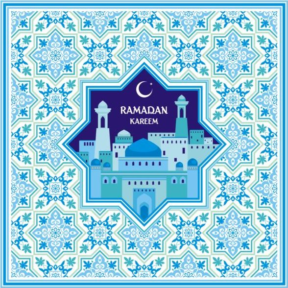 Ramadan pattern with greeting card vector 02