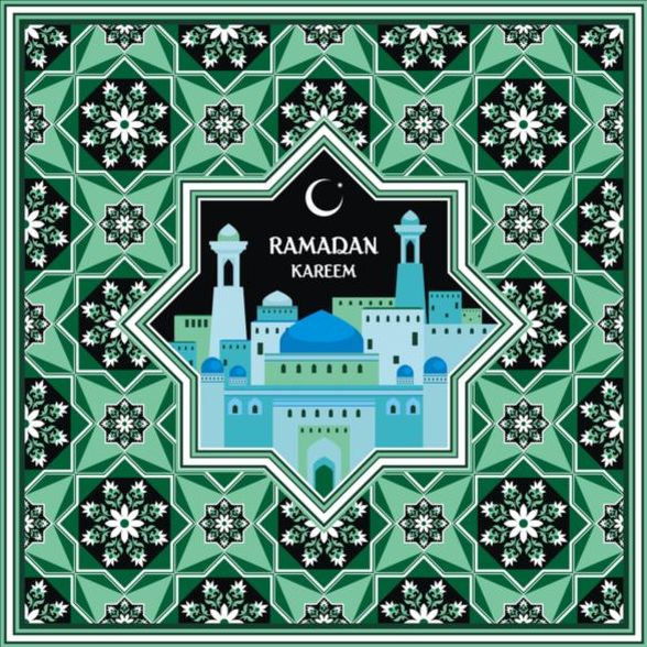 Ramadan pattern with greeting card vector 03