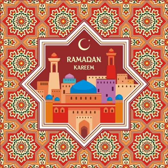 Ramadan pattern with greeting card vector 04