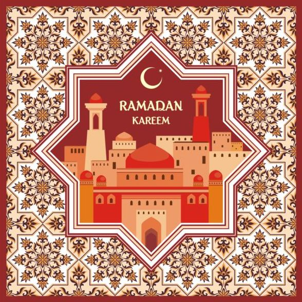 Ramadan pattern with greeting card vector 05