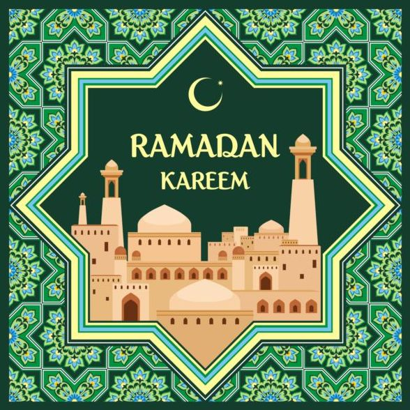 Ramadan pattern with greeting card vector 07