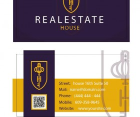 Real estate business card purples styles vector