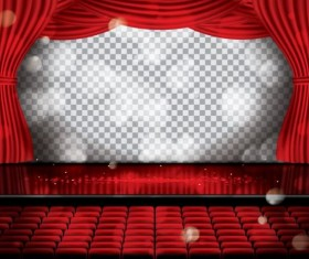 Red cinema curtain vector background