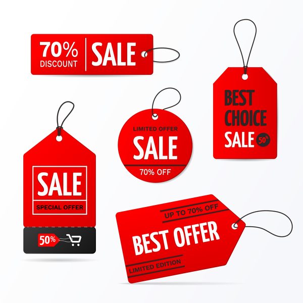 Red discount sale tag vector material