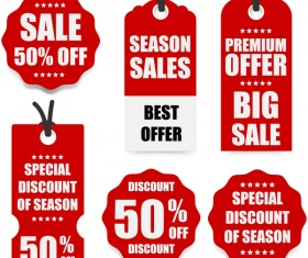 Red discount tags vector