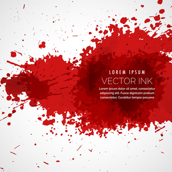 Red ink stains and paint vector background 02