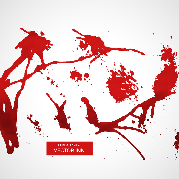 Red ink stains and paint vector background 03