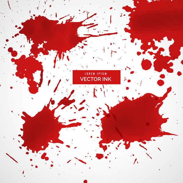 Red ink stains and paint vector background 05