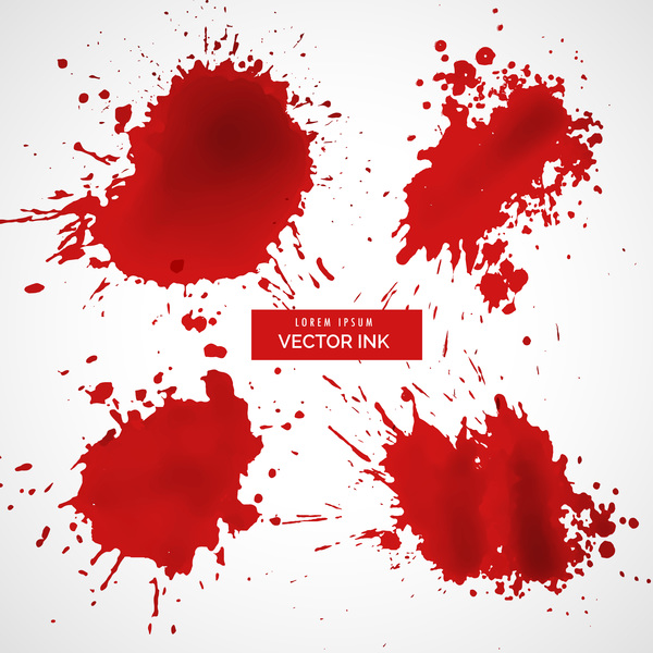 Red ink stains and paint vector background 08