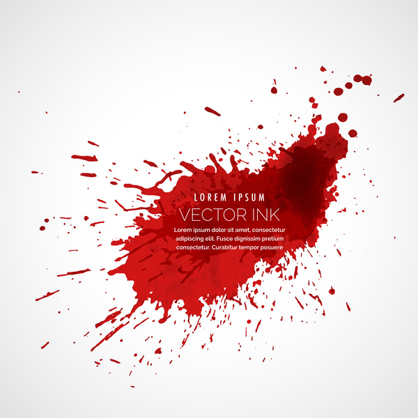 Red ink stains and paint vector background 09
