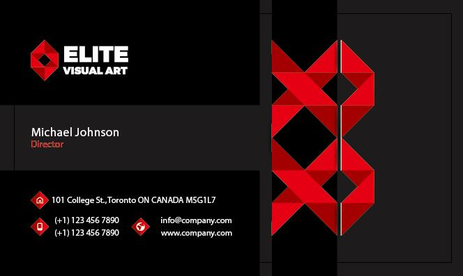 Red with black business card front vector