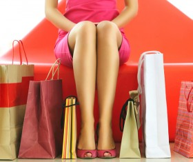 Rest woman shopping bags Stock Photo