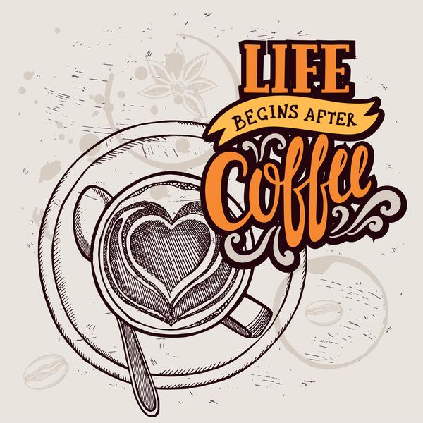 Retro coffee background design vector material 01